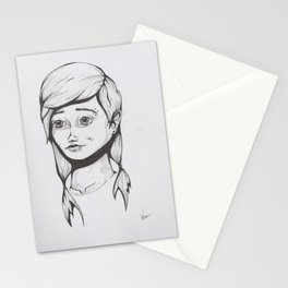 Line work Girl Stationery Cards