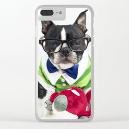 Boston Terrier Nerd Clear iPhone Case
