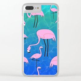 Flamingo Pond Clear iPhone Case