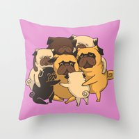 pugs Throw Pillows featuring Pugs Group Hug by Huebucket