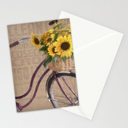 Sunflower Bicycle Stationery Cards