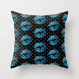 Blue Turquoise Glitter Lip Pattern Throw Pillow