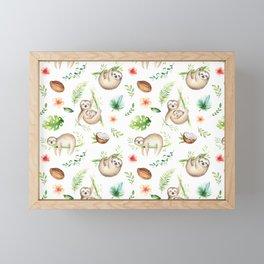 Tropical Sloths Pattern Framed Mini Art Print