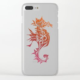 Orange and Red Seahorse Tribal Tattoo Clear iPhone Case