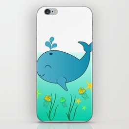 Happy baby whale iPhone Skin