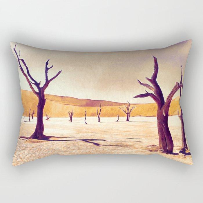 deadvlei desert trees acrls Rectangular Pillow