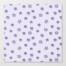 Abstract lilac violet lavender modern floral pattern Canvas Print