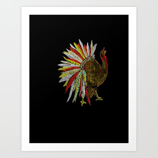 Neon Native American Turkey Art Print