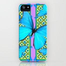 Blue Satin Butterflies Pattern On Lilac Purple iPhone Case