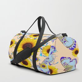 WHITE-PURPLE BUTTERFLIES YELLOW SUNFLOWERS CREAMY ART Duffle Bag