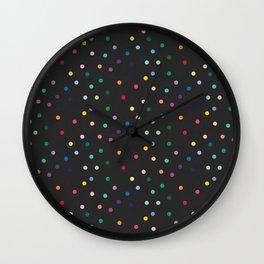 Black and rainbow polka Wall Clock