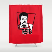 ron swanson Shower Curtains featuring Ron S Bacon by Buby87