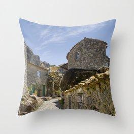 Monsanto, Portugal, a cobbled street Throw Pillow