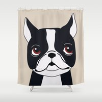 frenchie Shower Curtains featuring Frenchie by Darish