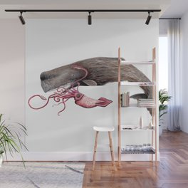 Epic battle between the sperm whale and the giant squid Wall Mural