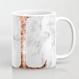 Monogram rose gold marble L Coffee Mug