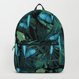 Tropical Butterfly Jungle Night Leaves Pattern #5 #tropical #decor #art #society6 Backpack