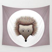 hedgehog Wall Tapestries featuring hedgehog by ovisum
