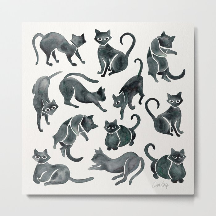 Cat Positions – Black Palette Metal Print