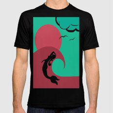 Mermaid Silhouette Mens Fitted Tee Black SMALL