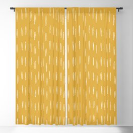 Raindrop Abstract Boho Pattern, Yellow Blackout Curtain