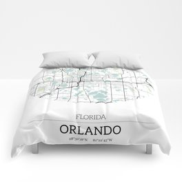 Orlando Florida City Map with GPS Coordinates Comforters