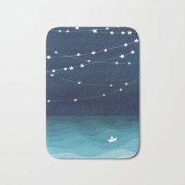 Garlands of stars, watercolor teal ocean Bath Mat