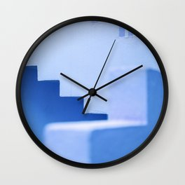 Muralla Roja abstract maze in classic blue | South of Spain architecture photography print Wall Clock