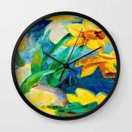 daffodil flowers Wall Clock