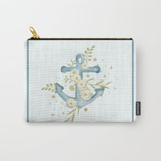 Blue anchor and flowers Carry-All Pouch