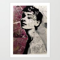 audrey Art Prints featuring Audrey by f_e_l_i_x_x
