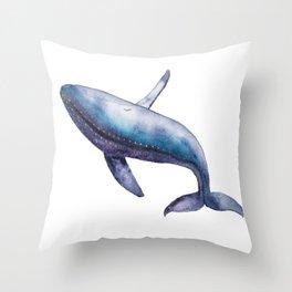 Humpback Whale Breech Watercolor Throw Pillow