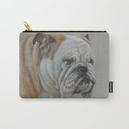 ENGLISH BULLDOG Realistic Dog portrait Pastel drawing on gray background Carry-All Pouch