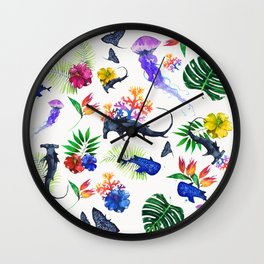 tropical shark pattern Wall Clock