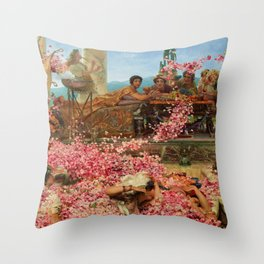 1888 Classical Masterpiece 'The Roses of Heliogabalus' by Sir Lawrence Alma-Tadema Throw Pillow