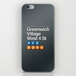 subway greenwich village sign iPhone Skin