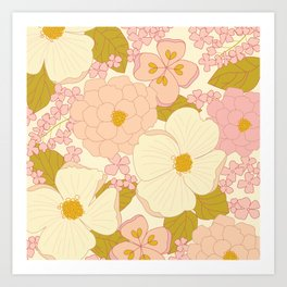 Pink Pastel Vintage Floral Pattern Art Print