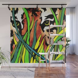 Tiger Eyes Looking Through Tall Grass By annmariescreations Wall Mural