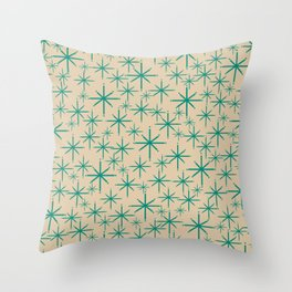 Stella 2 - Atomic Age Starbursts - Midcentury Modern Pattern in Turquoise Teal and Mod Mod Beige Throw Pillow