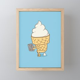 Everyone Poops (Blue) Framed Mini Art Print