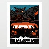 blade runner Art Prints featuring Blade Runner by Stephanie Shafer