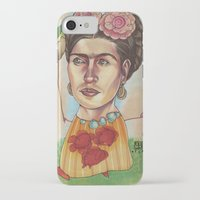 frida iPhone & iPod Cases featuring FRIDA by busymockingbird