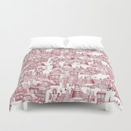 Doctor Who Toile de Jouy | 'Walking Doodle' | Red Duvet Cover
