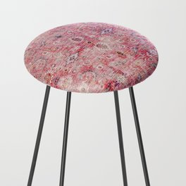 N45 - Pink Vintage Traditional Moroccan Boho & Farmhouse Style Artwork. Counter Stool
