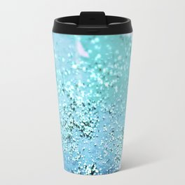 Blue Turquoise Glitter Watercolor Art Original Painting Travel Mug