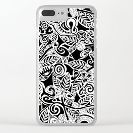 Maori Coffee Pattern Clear iPhone Case