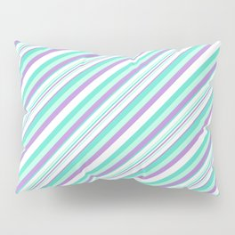 Deep Sea Green Turquoise Violet Inclined Stripes Pillow Sham