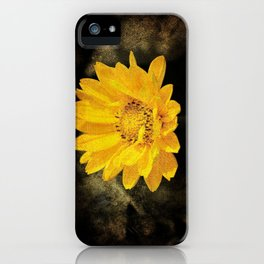 Beautiful Sunflower with Dark Brown Background iPhone Case