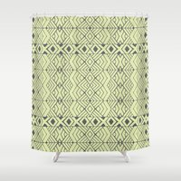 lime green Shower Curtains featuring Lime Green Aztec by Pom Graphic Design