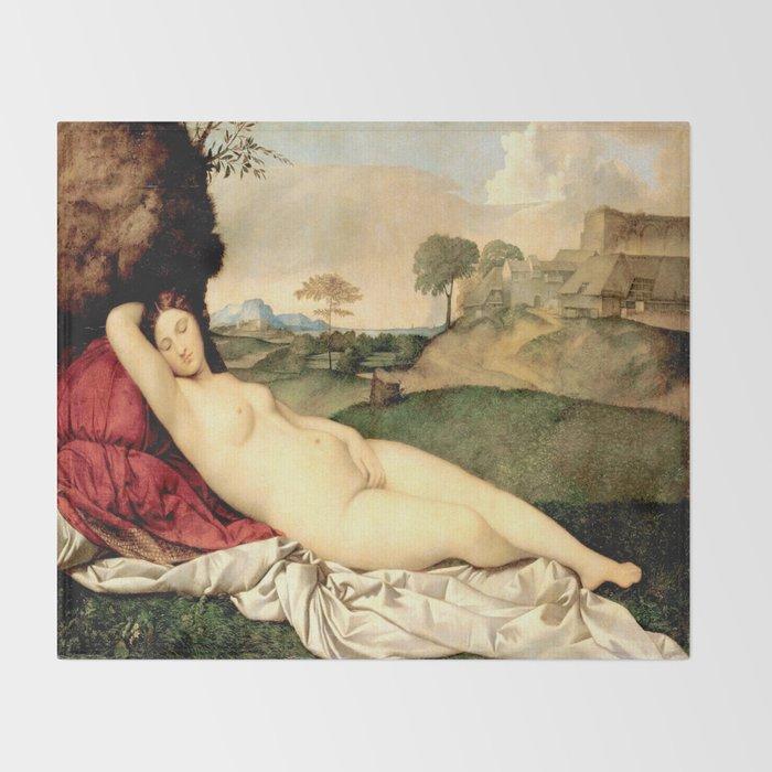 NUDE ART: Sleeping Venus by Giorgione Throw Blanket